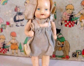 Doll Antique German Tiny Compo Miniature Baby