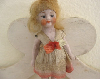 Antique German Dollhouse Bisque Flapper Doll in Original silk Dress Ribbon Rose