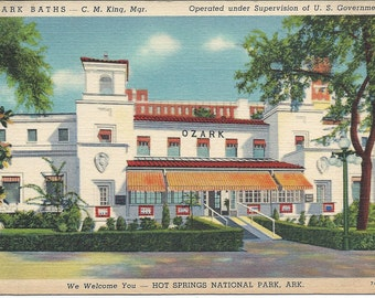 Postcard Hot Springs National Park Arkansas Ozark Baths Unused