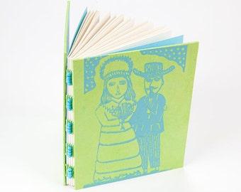 Handbound journal, sacred heart, milagro, wedding book, valentine journal