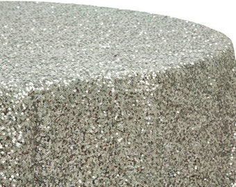 SEQUINS TABLECLOTH SHAPES Colors   Sequins Metallic Rectangle  Round,  Square Tablecloth   Silver,