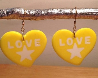 Vintage yellow, love heart earrings.