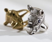 Rhinoceros Ring - Statement Ring - 3D Animal Head Ring - Silver Rhinoceros Jewelry - Rhinoceros Head with Gemstones