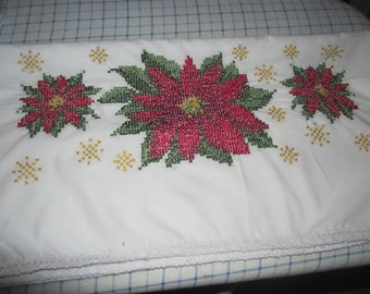 Hand Embroidered Christmas Poinsetta Queen Size Pillow Cases