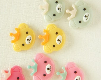 10 pcs Kawaii Bear Face with Crown Cabochon  (19mm21mm) DR435