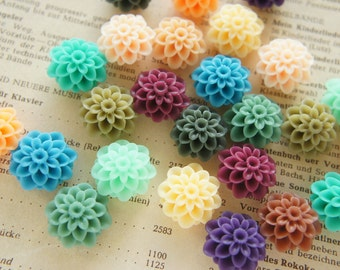 Assorted 12 pcs Matte Finished Dahlia Flower Cabochon  (20mm) FL387 (((LAST/no restock)))