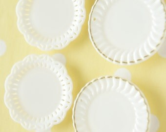 4 pcs White Dish Plate Charm/Cabochon (40mm) DR154 B set