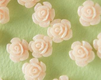 SALE 13 pcs Tiny Rose Cabochon (11mm ) Glittery Baby Pink FL214 (((LAST)))