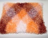Cowl scarf neck / head warmer hand knitted white / brown / orange plaid eyelash my very own unique technique