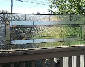 Stained Glass Transom - Mission Style in Clear Textures II (TW-59)