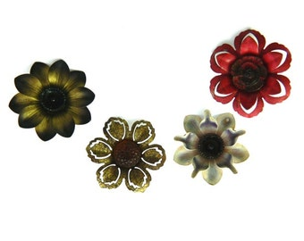 Four Vintage Curtain Pin Back Flowers