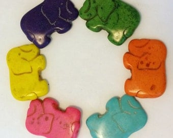 SALE - Medium Howlite Elephant Beads Set of Three - Assorted Colors