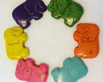 Medium Howlite Elephant Beads Set of Three - Assorted Colors