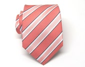 Coral Ties. Mens Ties Coral Peach White Stripes Necktie With Matching Pocket Square Option. Wedding ties.