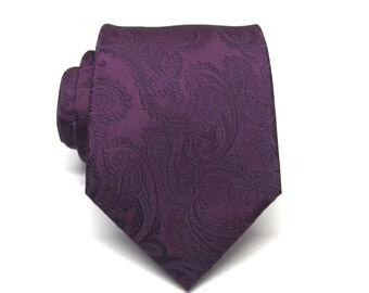 Mens Tie. Eggplant Purple Paisley Silk Mens Tie