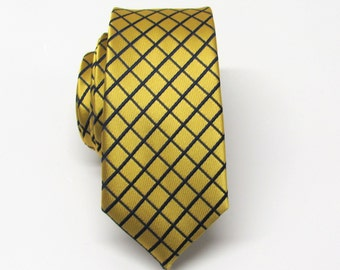 Skinny Tie. Mens Tie. Gold and Navy Blue Plaid Skinny Tie With Matching Pocket Square Option