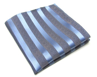 Pocket Square Blue and Gray Stripes Hankie