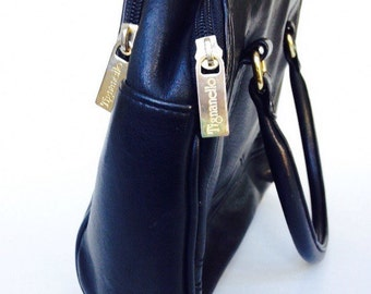 Black Leather Handbag Tignanello Vintage Black Purse Gold Hardware