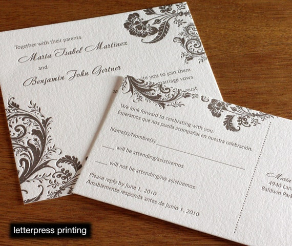 Allison Letterpress or Digital Wedding Invitations - Set of 100