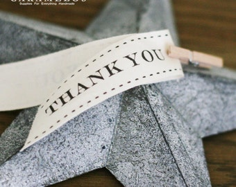 3 yards of printed Thank You ivory cotton ribbon