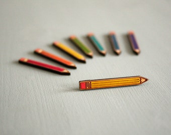Wooden Pencil Brooch, Hand Painted, Laser Cut Birch Wood, Made in Brighton, UK