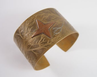"Brass Etched Cuff Bracelet Labeled ""Made by Dion Peek 1976 Vintage 70s Jewelry"
