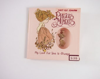 Precious Moments 14K Gold Filled Charm on Card Vintage 90s Jewelry
