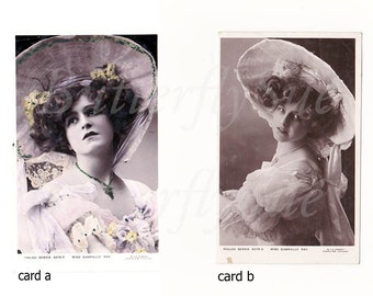 Portraits Gabrielle Ray In Large Hat RPPC Hand tinted,Black &White,Edwardian Actress,Unposted Philco