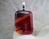 Wine Red Burgundy Dichroic Fused Glass Pendant - Pantone Marsala