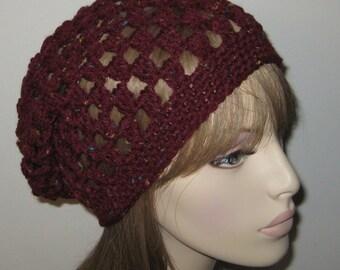 Crochet Cluster Slouchy Beanie/Dread Tam/Winter Hat in Burgandy Fleck