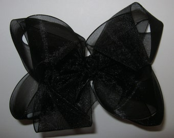 Large Double Layer Loopy Style Organza Hair Bow in Black