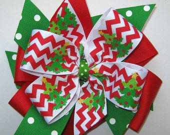 XL Christmas Tree Chevron Dots Big Large Huge Hairbows MEGA Stacked Grosgrain Red Green White Holiday Hair Bow