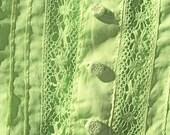 Antique EDWARDIAN Blouse Apple GREEN SHEER