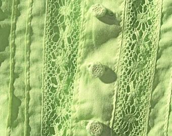 Antique EDWARDIAN Blouse Apple GREEN SHEER