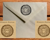 Rustic Custom Wedding Save the Date Rubber Stamp //  Wood Slice Tree Rings with Initials and Heart- Handmade by Blossom Stamps