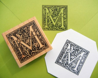 Monogram Initial Rubber Stamp Square Ornate - Handmade by Blossom Stamps