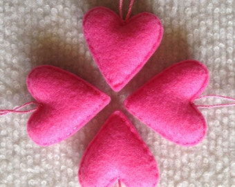 Candy pink felt heart ornaments set of four