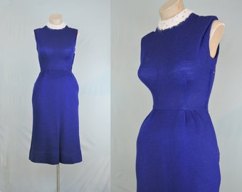 Sale Vintage 1950s Dress Blue Sweater Dress with Angora Collar & Rhinestones 34 bust, 24-1/4 waist, 36 hips