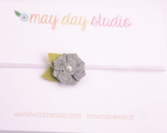 newborn baby/toddler girls felt flower elastic headband - grey felt flower on elastic headband - YOU CHOOSE ELASTIC