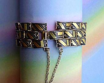 Vintage 60s Damascene Bracelet Niello Birds