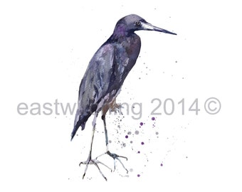 Watercolor HERON print, 8x10 print, bird lover gift, ready to frame, animal art