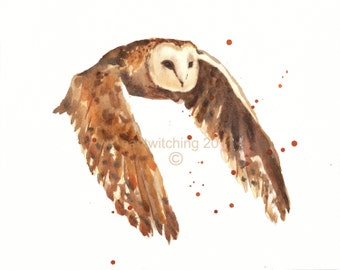 Watercolor OWL Print, ready to frame, owl lover gift, watercolour birds, 8x10 print
