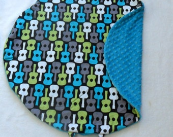 Groovy Guitars and Teal Minky Dot Pillow Cover Fits Boppy Newborn Lounger