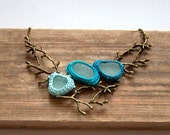 Twig sea glass necklace Christmas  gift for her Statement bib teal sea green bib necklace crochet seaglass jewelry bronze tree branch