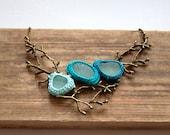 Twig sea glass necklace Valentine gift for her Statement bib teal sea green bib necklace crochet seaglass jewelry bronze tree branch