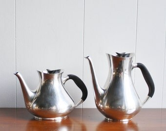 Vintage pair of silver plated tea pots, Denmark
