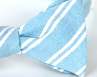 robins egg blue striped freestyle bow tie