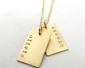 Gold Dog Tag Necklace   Gold Name Necklace   Double Pendants   Engraved Hand Stamped Name Charms   Gold Name Charms   14K GF   Personalized