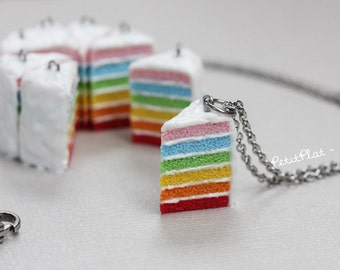 Rainbow Cake Necklace - Happy Birthday in Colors - Fimo Foods Jewelry