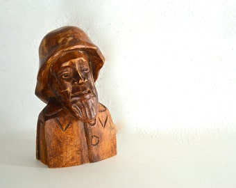 Wooden Fisherman or Ship's Captain Sculpture Hand Carved